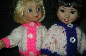 """Hand Knit Clothes Purple Trim, Pink Trim Sweater fit 10"""" Ann Estelle Tonner Doll"""