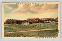 Yellowstone National Park WY, Grand Canyon Hotel, Wyoming Linen Postcard