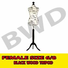 Female Size 6/8 Floral Dressmakers Tailors Dummy Mannequin Black TRIPOD Stand