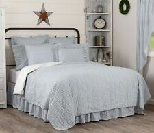 Blue Luxury King Ticking Stripe Quilt Farmhouse Bedding Sawyer Mill Hand Quilted