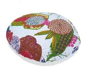 """20"""" Indian Handmade New Kantha Round Home Decorative White Floor Cushion Covers"""