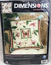 Dimensions 20021 Honeysuckle Butterfly Needlepoint Pillow Kit 14x14 New 2005