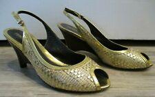 FENDI Gold Metallic Woven Slingbacks with Wooden Wedge - Size 41