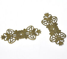 30 bronze tone filigree flower wrap connecteur 7.4x3.1cm
