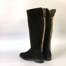 Stuart Weitzman Black Shearling Sheepskin Suede Knee High Boot Shoes Size 39 US9