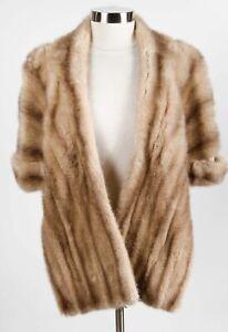 Vintage Beige Women's Luxury Mink Fur Shawl Wrap