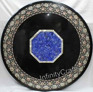 Semi Precious Stones Inlaid Living Room Table Round Dining Table Size 48 Inches