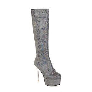 Women's Boots Knee High Rider Glitter Sexy Super High Heel Dance Nightclub New L