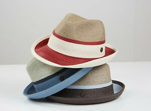 VERONA Mens Womens Multi-Coloured Two-Tone Retro Summer Straw Hat Fedora Trilby