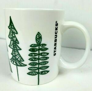 Starbucks Coffee Mug Tea Cup 12oz Green Trees White Ceramic 2015 Rare Holiday