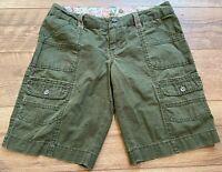 ROXY Green Flat Front Casual Longer Style Bermuda Cargo Shorts womens size 3
