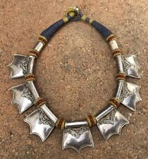 """Old Antique Chinese Tibetan India Sterling Silver & Bead Woven Necklace 18"""""""