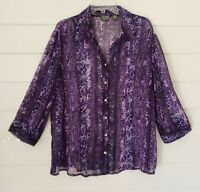 Chico's Women's Sheer Blouse Top Collared Long Sleeve Size 3 Purple Animal Print