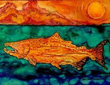 ALASKA Salmon Alcohol INk Midnight Sun Orig Design 7.75 x 10 Metal Art Print