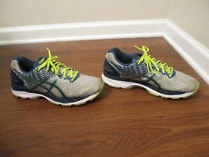 Used Worn Size 10.5 Asics Gel Nimbus 18 Shoes Gray Blue White Flash Lime