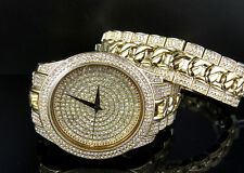Gold finish Iced Watch with Simulated diamonds and Designer bracelet  over Brass