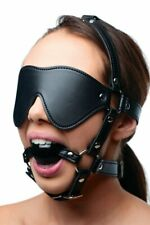 Strict Blindfold Harness and Ball Gag Mask Bondage Synthetic Leather Muzzle Real