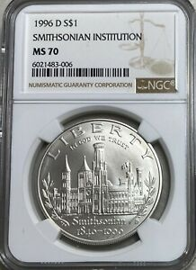 1996-D Smithsonian Institution Dollar NGC MS70
