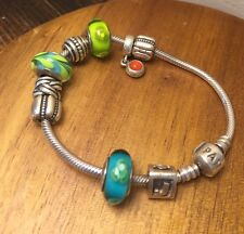 "Authentic Pandora Bracelet W/ 9 Charms Sterling Silver Green Blue Hues ""J"" charm"