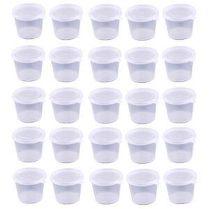 50 Small Plastic Sauce Cups Food Storage Containers Clear Boxes 25ml 40ml 50ml