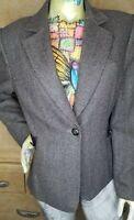 Tahari 100% Wool Herringbone 1-Button Blazer Jacket Size 14