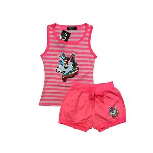 Girls Kids Short Sleeve Set Outfit Unicorn Sequin Summer Top Shorts 2 Piece Set