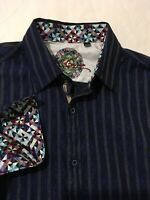 Robert Graham Men's Long Sleeve Dress Shirt Blue Textured Flip Cuff Blue Size XL