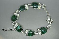 Vintage 60s Elsa Schiaparelli rhinestones green cabochon glass bracelet