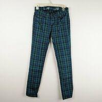 Levi's Women's Blue Green Plaid Skinny Jeans Size 4