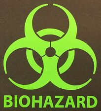 NEW LIME GREEN BIOHAZARD LOGO WARNING DANGER ZOMBIE OUTBREAK VINYL DECAL STICKER