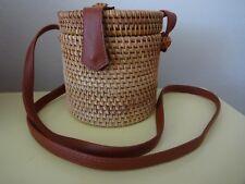 Rattan Wicker Straw Woven Bag Crossbody Bucket Basket Holiday Beach Purse New
