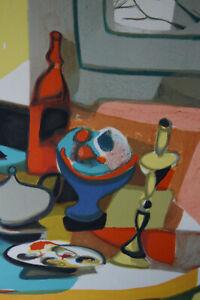 Lithographie originale Marcel MOULY contre signée Cubisme