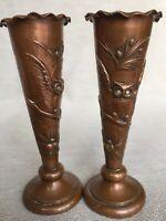 Pair Rare Antique Repousse Copper Bronze Owl Spill Bud Vases Arts & Crafts