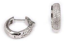 Klappcreolen Silber 925 Zirkonia Creolen Ohrringe mit Klappverschluss