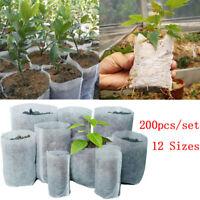 200PCS Biodegradable Non-woven Nursery Bags Plant Grow Planting Seedling Pots