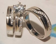 Man + ladies 14K white Gold Over Siver Wedding Band & Engagement Ring Trio Set