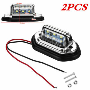 6LED Plastic Car License Plate Lights Signal Tail Lamp White 12V Waterproof 2Pcs