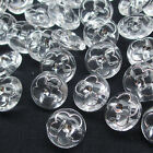 New 50/250pcs Clear Plastic Flower Buttons 12mm Sewing Craft Back Hole