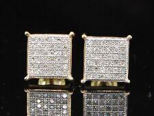 Diamante Piatto Quadrato Orecchini .925 Argento Sterling Rotondo a Pavé 0.25 KT