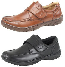 Mens Leather Lined Comfy Velcro Bar Office Formal Casual Loafers Shoes Tan Brown UK 12 -