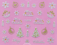 Merry Christmas SILVER GOLD Snowflakes Trees Candles 3D Nail Art Stickers Decals