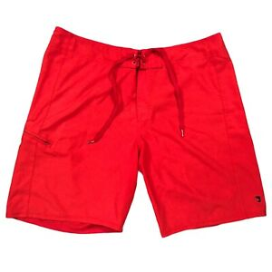 Quicksilver Waterman Swim Trunks Mens Size 38* Red Board Shorts Beach Vacation