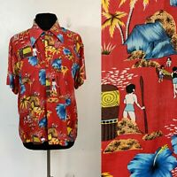 VTG 50s Mens Hawaiian Holiday Rayon Red Shirt True Vintage Unique Large