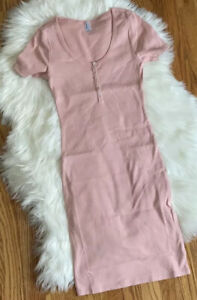 American Apparel Short Sleeve Pink Henley Rib Bodycon Dress Small FASHION HAVEN