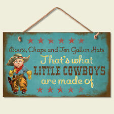 Western Lodge Cabin Decor ~Little Cowboy's~  Wood Sign W/ Braided Rope Cord