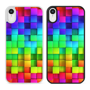 RAINBOW CUBES Coloured Blocks Pattern Phone Case Cover For iPhone Samsung Galaxy
