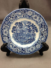 "Liberty Blue by Staffordshire 5"" Bread Cake Plate Blue Floral Rim Center Scene"