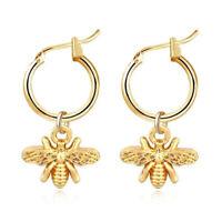 Mode Gold Cute Bee Anhänger Creolen Drop Dangle Ohrringe Frauen Je TKI