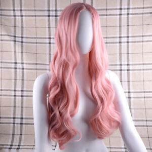 Party Full Head Pink Lace Front Wig Handtied Long Wavy Curly Synthetic Hair