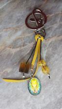 Schlüsselanhänger, Taschenanhänger EULE UHU gelb, Geschenk handgefertigt